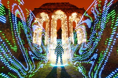 """I have to go now, my planet needs me."" (quornflake) Tags: longexposure blue orange lightpainting man green night weird ruins surrey spooky lighttrails trippy farnham waverleyabbey digitallightwand"