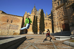 Let me fly [Leap Day Project] (Yavanna Warman {off}) Tags: españa canon fun eos fly jump jumping spain flickr cathedral catedral levitation salto salamanca takeoff leap leaping vuelo volar wideanglelens saltar leapday milde patiochico yavanna february29th happyleapday 1000d tamron1024mm yavannawarman flickrleap2012 leapdayproject marcoshét