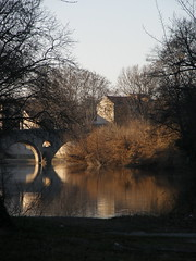 L'Orb and Le Pont Vieux (Annie in Beziers) Tags: morning trees sunlight france water reflections river languedoc hrault lorb bziers lepontvieux oldromanbridge laplantade annieinbziers
