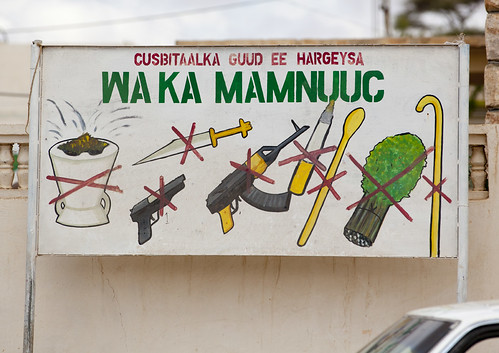 Khat and Weapons Prohibition Sign In Hargeisa, Somaliland