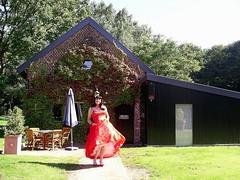New red pumps (Paula Satijn) Tags: red summer sun beauty garden fun tv pumps dress cd skirt tgirl gown satin gurl petticoat petti ballgown tlady