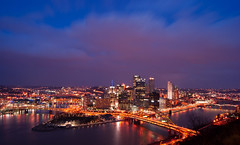 Pittsburgh lit up (kgrunt2006) Tags: city skyline night pittsburgh dusk bridges rivers confluence impressedbeauty impressbeauty friendlychallenges thechallengefactory