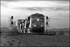 Enhanced Eastbound at East Siberia (greenthumb_38) Tags: california railroad blackandwhite bw train blackwhite route66 siberia mojave duotone locomotive bnsf mojavedesert motherroad sanbernardinocounty railroading desertlife nationaltrails rte66 themotherroad nationaltrailshighway needlessub jeffreybass eastsiberia natltrailshwy ludlowadventure2012