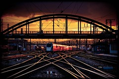 Rails On Fire (TheOtherPerspective78) Tags: vienna wien railroad sunset station flickr track sonnenuntergang sundown platform tracks engine railway zug bahnhof explore rails gleise zge gleis schienen westbahnhof explored ef24105l railjet theotherperspective78 flickrexplore09032012