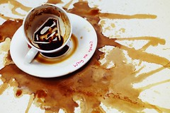 offee grounds_Tasseography (Dina Belenko) Tags: stilllife film coffee breakfast character superman cups superhero tribute liquid prophecy tasseography divination coffeegrounds dishesspill