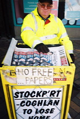 free (steve marland) Tags: uk portrait urban film sign newspaper stockport olympusxa tyography merseysquare