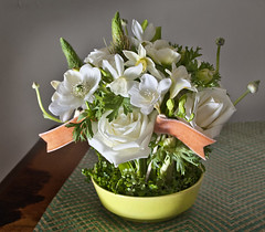 White on White (dandy bread and candy) Tags: flowers springonions anemones freesia minidaffodils whiteroses farouche vintagepottery velvetribbon chartreusegreen