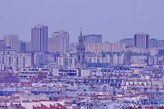 Paris, photo depuis le toit de l'Agence Delprat & Associs  La Bastille 15 Notre-Dame de la Croix  Mnilmontant (paspog) Tags: paris france roofs tours toit glise toits decken mnilmontant toitsdeparis placedesftes roofsofparis notredamedelacroix delpratassocis agencedelpratassocis