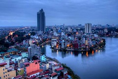 View of Truc Bach Lake from the Sofitel Plaza Hotel , Hanoi (Marty Windle -Travel Photographer) Tags: plaza lake night hotel dusk bach hanoi marty sofitel truc windle ©martywindle