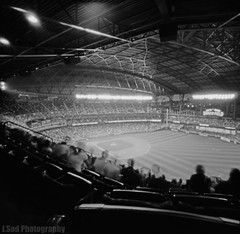 Safeco Field - Pinhole (J.Sod) Tags: seattle longexposure roof game field grass sport essay image baseball stadium delta pinhole 400 mariners safeco pinholecamera safecofield fans zero ilford ilforddelta400 zero2000 openingday pinholephotography seattlemariners zeroimage mlb blackandwhitephotography upperdeck asa400 majorleaguebaseball nationalpastime zeroimagepinhole ilforddelta roofclosed f138 sportschallange