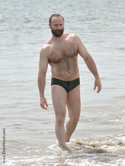 Evan in Green Speedo (JeffBearNYC) Tags: bear musclebear hairy wet muscles beard coneyisland bears handsome mature british speedo bearded speedos gruff evanhood