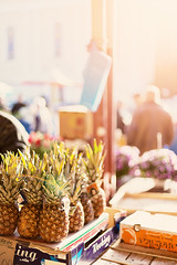foreign markets (Maegondo) Tags: travel market romania arad pineapple still life food backlight sun sunlight sunrise bokeh dof depthoffield schrfentiefe canon eos 5dmark2 50mm 14