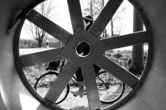 In fan! (dockerm) Tags: street urban blackandwhite bw black germany deutschland fan streetphotography ventilator wilhelmshaven 2014 in strase