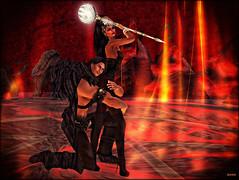 (Bleem Belargio) Tags: fire lava holding hug couple dragon flames hell bat dragons sl staff sphere secondlife inferno cave bats wth