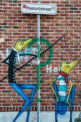 Urban fishing (ericbaygon) Tags: street dog art sign yellow wall jaune fishing nikon tag dessin signalisation mur panneaux graffitis pêche doel nikonpassion d300s
