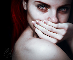 the restless. (Cristina Otero Photography) Tags: blue red woman selfportrait girl self photography sadness eyes hand sad cristina angry restless otero