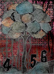 Tree456 (Morganthorn) Tags: color collage ink paper stencil paint mixedmedia experiment stamp