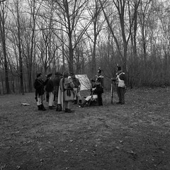 52:500c - Week 18 - Longwoods (.:Axle:.) Tags: b bw ontario canada cold slr london history 120 6x6 film wet rain museum rollei mediumformat project square blackwhite spring village kodak hc110 hasselblad reenactment reenactors damp warof1812 militaryhistory asa400 filmphotography longwoods dilutionb canadianhistory filmisnotdead kodakhc110 hasselblad500c epsonv700 filmisalive rpx400 mountbrydges battleoflongwoods rolleirpx400 believeinfilm 52rollsnet 52rollproject adobephotoshopcc 52500c carlzeissdisagon50mm14 skanadohvillage