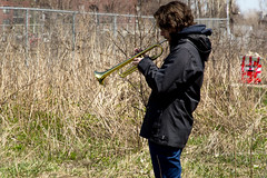 trumpet practice (born ghost) Tags: street city people urban musician music canada abandoned industrial quebec montreal trumpet peoplewatching