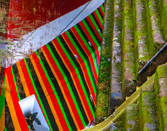 Dazzle-steps (stephenbryan825) Tags: red black reflection green water liverpool boats graphic details multicoloured abstracts albertdock vessels selects dazzleboat