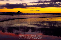 Last Light-2 (www.kompleatphotography.com) Tags: ocean sunset sky reflection beach water wales evening surf colours outdoor dusk walk surfer cymru shoreline slide surfing shore serene restbay nikonflickraward