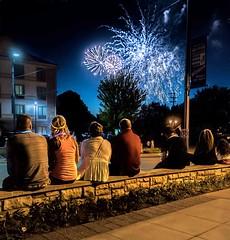 Enjoy The Show (Wes Iversen) Tags: people men children women fireworks michigan stonework fences frankenmuth hff nikkor24120mm fencefriday