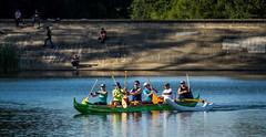 Rowing past the dam (randyherring) Tags: california park ca lake nature water boat us team fishing afternoon unitedstates outdoor dam paddle rowing losgatos recreational santaclaracountyparks vasonalakecountypark
