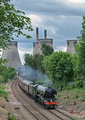 Purring Along (4486Merlin) Tags: england buildings europe unitedkingdom transport steam railways powerstation northyorkshire flyingscotsman gbr brotherton industrialbuildings yorkshireman 60103 wcrc rytc exlner lnerclassa3