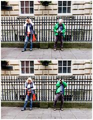 Bristol; June 2016 (Daniel Durrans) Tags: street red urban woman man building green lady bristol photography diptych pavement streetphotography photographers railings ironrailings cornexchange stnicholasmarket cornstreet