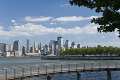 Walkway to park built over Hudson River. (dkjphoto) Tags: park nyc newyorkcity railroad travel bridge usa newyork tourism water station skyline america skyscraper river pier boat newjersey construction tour unitedstates walk manhattan worldtradecenter tourist walkway northamerica wtc hudson hoboken piera freedomtower dennisjohnson wwwdenniskjohnsoncom