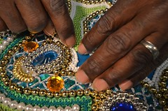 Big Chief Victor Harris, Spirit of Fi Yi Yi Working On His 2012 Mardi Gras Indian Suit