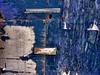 desvio para o azul #1... (bruce grant) Tags: cartazes obras tapume rasgados