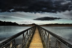 The long walk. (Michael~Ashley) Tags: bridge sea beach water clouds dark photography foot scotland highlands sand scottish lossiemouth