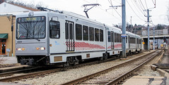 Inbound Red Line (jayayess1190) Tags: city urban station train publictransportation metro pennsylvania tracks tram neighborhood vehicle commuter passenger masstransit lightrail redline portauthority lrv alleghenycounty