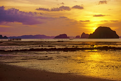 Sunsut over Phangnga Bay (h_roach) Tags: ocean travel sunset sea beach thailand islands southeastasia cliffs limestone monolith gettyimages schist karsts phangngabay coth fishtraps coth5