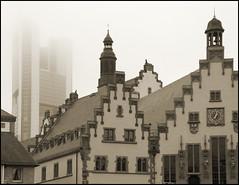 "Frankfurt / Main (Germany): The ""Rmer"" (old town hall) (wwwuppertal) Tags: blackandwhite bw monochrome sepia skyscraper germany deutschland hessen frankfurt main townhall sw rathaus hochhaus rmer hesse highriser schwarzweis nikonp7000"