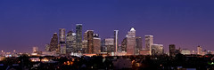 Houston Skyline Blue Hour Panorama (Jim | jld3 photography) Tags: city windows urban panorama skyline night buildings lights evening nikon long exposure downtown cityscape texas skyscrapers metro dusk houston panoramic highrise bluehour metropolitan f28 80200mm afd nohdr d700