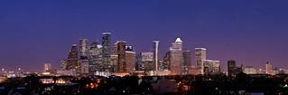 Houston Skyline Blue Hour Panorama