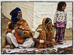Rabari selling jewellery, Little Rann of Kutch, Gurjarat, India (retrotraveller) Tags: people india men children women tribal jewellery gujarat rabari kutch traders rannofkutch littlerann kachch