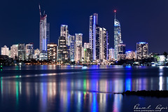 gold coast city (Pawel Papis Photography) Tags: city blue light sky urban blur building tower beautiful skyline architecture modern night skyscraper outdoors town downtown glow cityscape view apartment crane australia illuminated highrise infrastructure qld queensland viewpoint urbanscape goldcoast reflectionriver