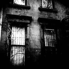 """""""I never saw you coming. You didn't even notice me. Until one day, you did. You gave me light in my blind darkness..."""" (Manhattan Girl) Tags: nyc windows bw dark square moody manhattan branches gritty apartmentbuilding textured iphone bwsquare texturesquared hipstamaticcamerabag"""