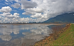 Puffy Clouds (R. Sawdon Photography) Tags: clouds reeds hiking cattails biking marsh dyke puffy pittlake rsawdonphotography pittaddintonmarsh