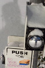 Push For Do Your Homework (daniellih) Tags: road seattle street winter shadow snow storm cold reflection ice uw weather metal self for mirror washington university photographer bend wind snowstorm january sidewalk sphere round button push curve signal universityofwashington 2012 pushforsignal daniellih