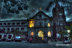 sta monica's church HDR (ge manuel) Tags: christmas old history church night lumix star big nightshot philippines pray aisle bulacan lantern mass parol hdr highdynamicrange relic angat churchinterior inteior lx3
