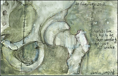 Joint is jumping. 20 February, 2012. (Sharon Frost) Tags: skeleton haiku paintings drawings anatomy bones hip femur sketches sketchbooks pelvis journals sacrum acetabulum sharonfrost daybooks femoralneck