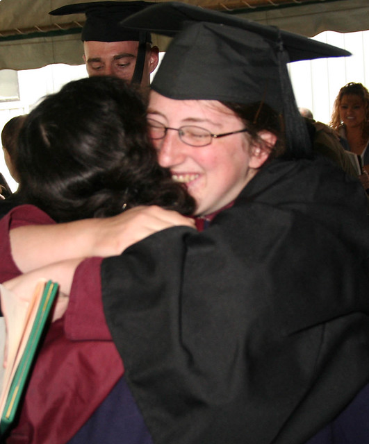Sarah gets hug after ceremony