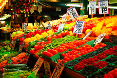 Colorful Fruits and Vegetables () Tags: seattle usa colors fruit colorful market vegetable wa vendor pikeplacemarket publicmarket m43 microfourthirds popartfilter lumix20mmf17 olympusep3