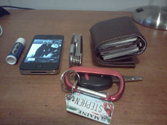 The things I carry... (smurton2011) Tags: keys wallet chapstick pocketknife iphone4s