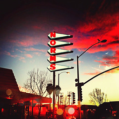 norm's. santa monica, ca. 2012. (eyetwist) Tags: california sunset red signs color texture toxic sign mobile square typography la losangeles saturated neon kevin phone graphic santamonica lofi socal filter crop signage processing type intersection technique processed camerabag norms 4s apps typographic lores iphone workflow angeleno eyetwist photofx mobilephotography iphonography eyetwistkevinballuff iphoneography tiffenphotofx balluff photoforge millcolour picfx normss picfxroundup