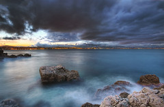 Stormy weather in Antibes! (Christophe Bailleux Photography) Tags: voyage longexposure light seascape storm photoshop canon landscape mark lumière ii 5d bluehour antibes hdr topaz traval 1740f4l photomatix poselongue heurebleue nikcolor 5dmarkii christophebailleux